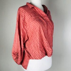 Elan Salmon Wrap Collared 3/4 Sleeve Blouse Shirt